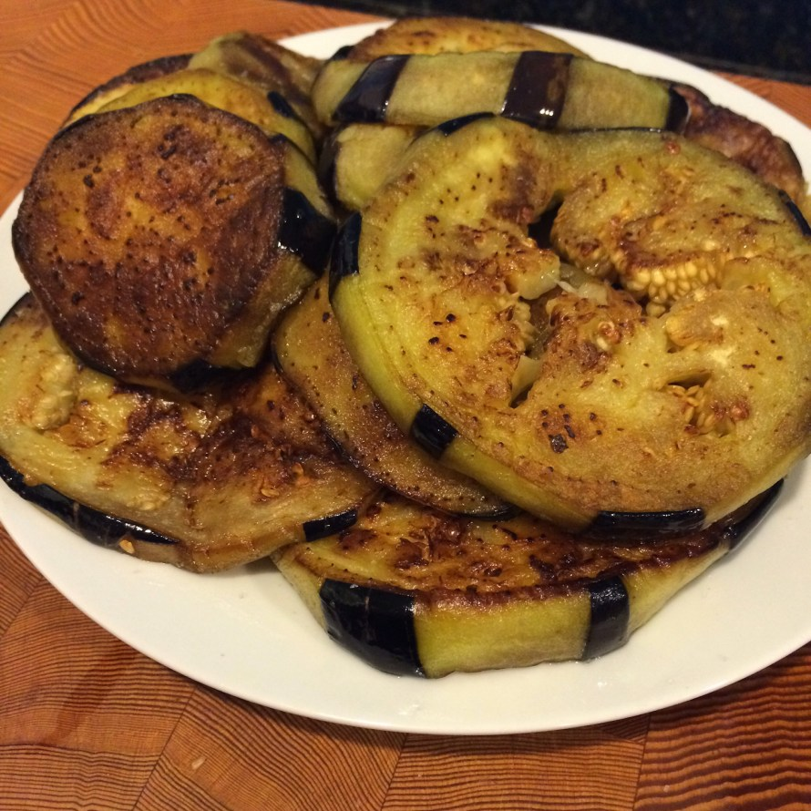 Saute the eggplant until soft and buttery