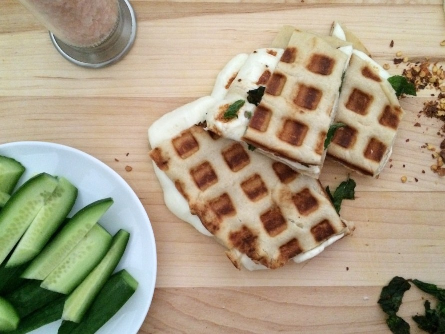 Waffled Akawi & Mint Grilled Cheese