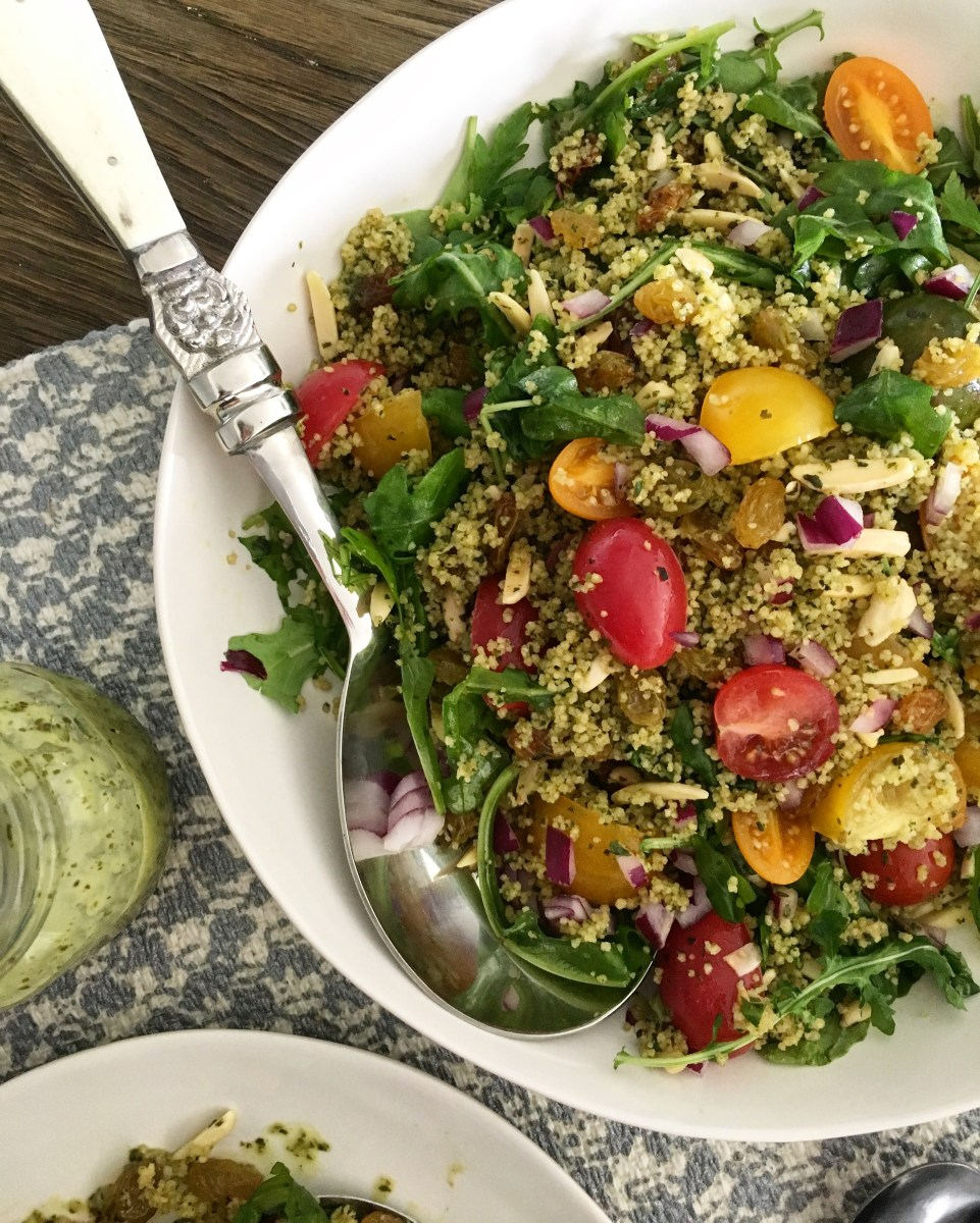 Basil Couscous Salad with Arugula and Mini Heirloom Tomatoes