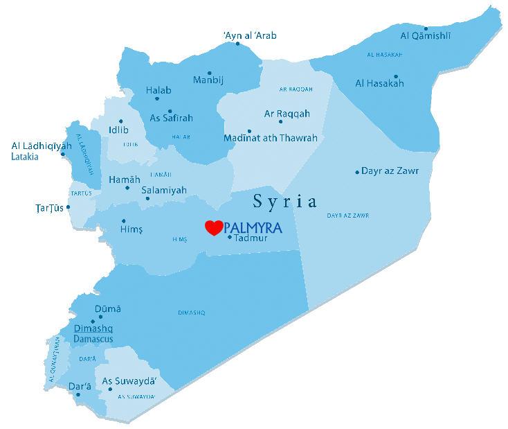 Mapa de Siria, Palmyra con un corazón