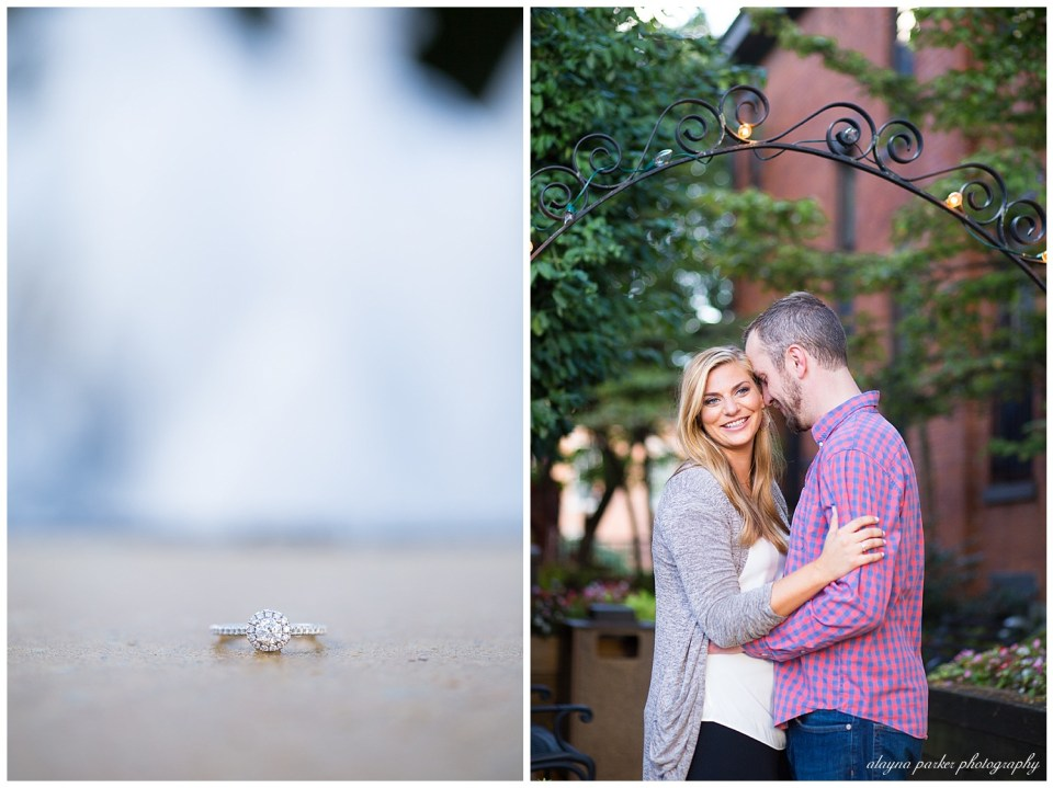 A picture closeup of the new engagement ring, and a view of the engaged couple tenderly embracing in front of a quaint vintage background