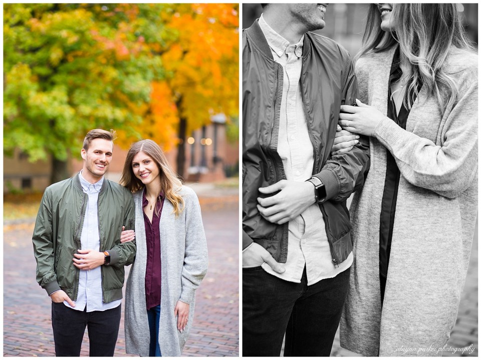 An image of a newly engaged couple standing together in a backdrop of a brick road and fall trees, and a black and white view of them standing close and smiling in German Village by Alayna Parker Photography  - Columbus OH engagement photographer