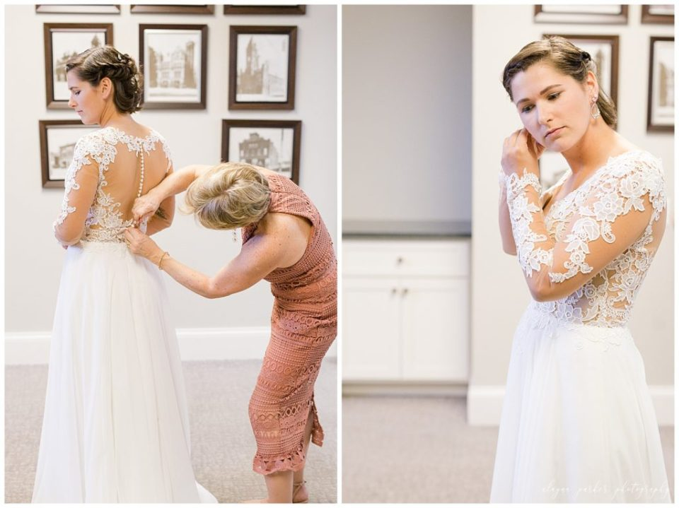 A picture of the bride's mother buttoning the bride's wedding gown, and a view of the bride putting on her earrings as she dresses for the wedding at Station 67  by Alayna Parker  - Columbus  wedding photographers