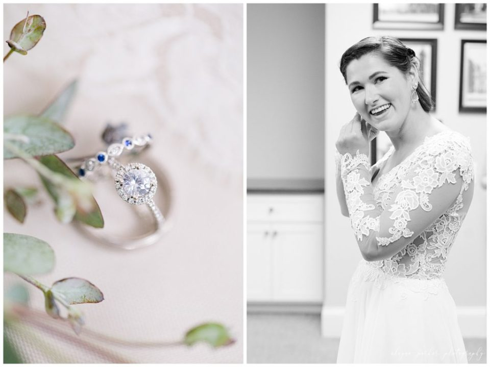 An image of the wedding rings closeup framed by beautiful leaves, and a black and white view of a bride smiling in her wedding dress as she adjusts her jewelry at the Station 67 wedding venue by Alayna Parker Photography  - Columbus OH wedding photographer