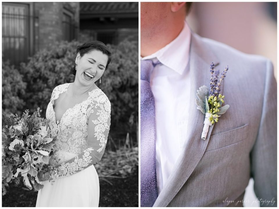 A photograph in black and white of the bride laughing happily, holding her bouquet, and a closeup view of the groom's beautiful purple and green boutonniere at the Station 67 wedding venue by Alayna Parker Photography  - Columbus OH wedding photography