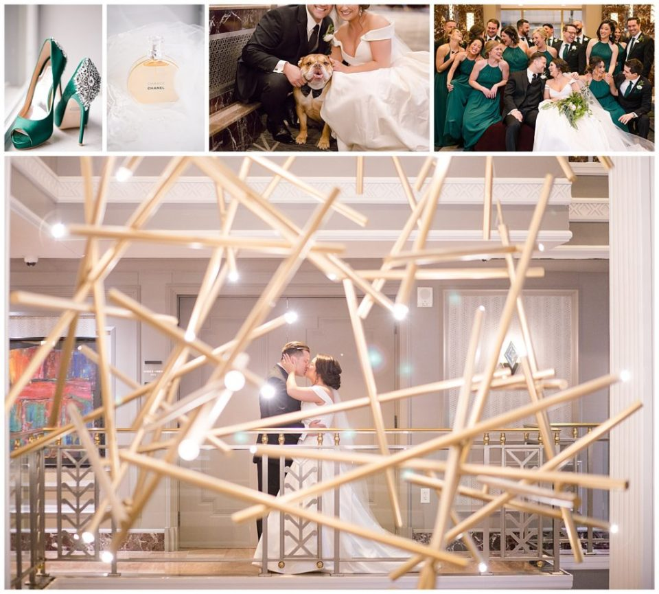 Collage of images from this Hotel LeVeque wedding in downtown Columbus by Alayna parker Photography
