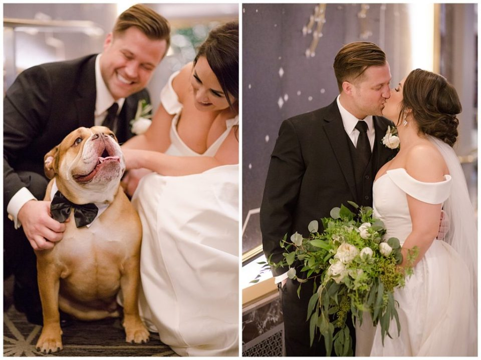 A picture of the bridal couple smiling as they pet their beloved bulldog after the wedding, and a view of bride and groom kissing as they relax after the wedding at the Hotel LeVeque wedding venue by Alayna Parker  - Columbus  wedding photos