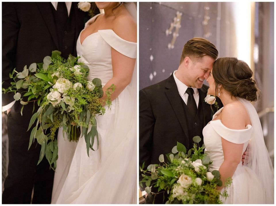 An image of the bride's beautiful bouquet of white roses and greenery, and a view of the bride and groom smiling as they stand close and touch foreheads at the Hotel LeVeque by Alayna Parker Photography  - Columbus Ohio wedding pictures