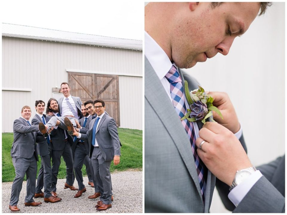 An image of the groomsmen holding up the groom as they laugh together, relaxing before the wedding, and a view of the best man attaching the boutonniere on the groom at a Buckeye Barn wedding by Alayna Parker  - Columbus Ohio wedding photos
