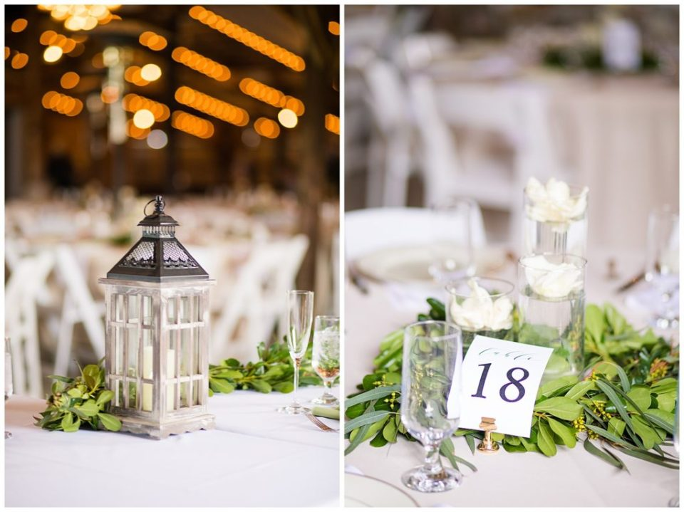 An image of a candle lantern decorating the head table at a wedding reception, and a view of a centerpiece at a guest table at the Buckeye Barn by Alayna Parker Photography  - Columbus Ohio wedding photographers