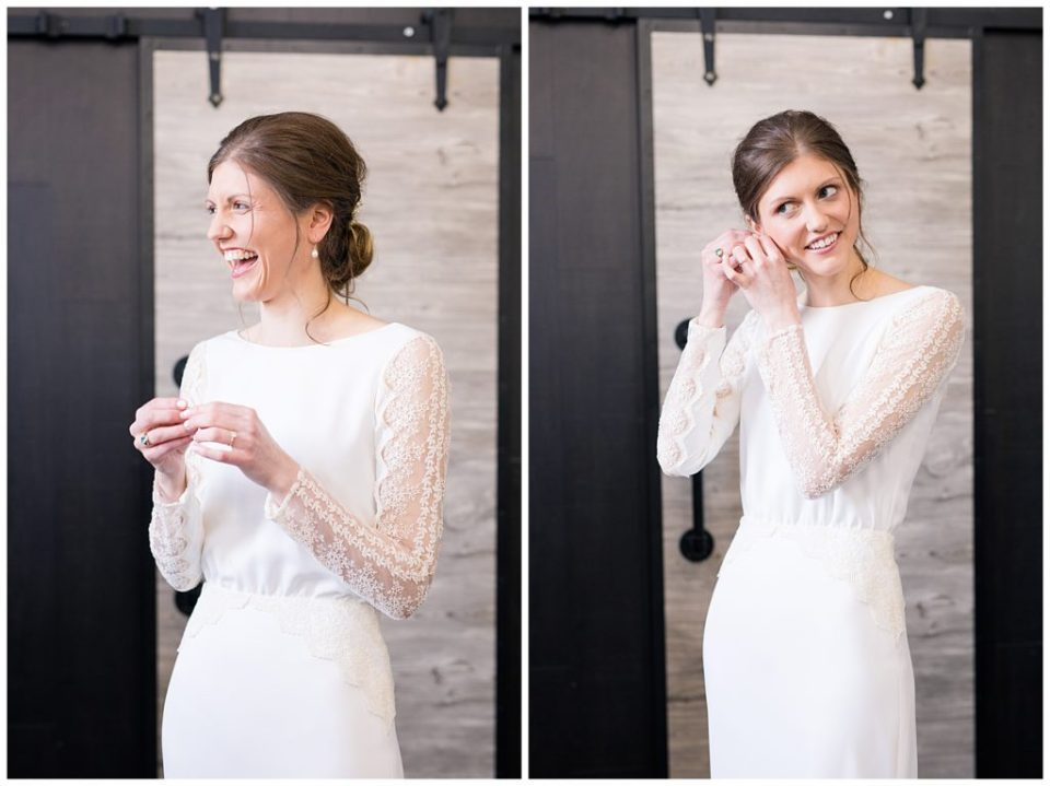 bride laughing as she puts in earrings