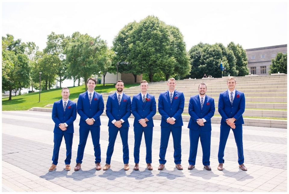 groom and groomsmen at genoa park