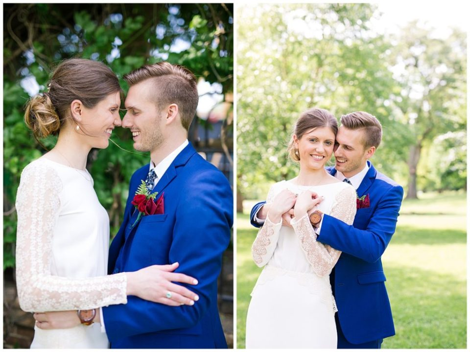 A photograph of a bride and groom, smiling, nose to nose, and a view of them smiling as they hold each other close at Dock 580 by Alayna Parker Photography  - Columbus OH wedding pictures