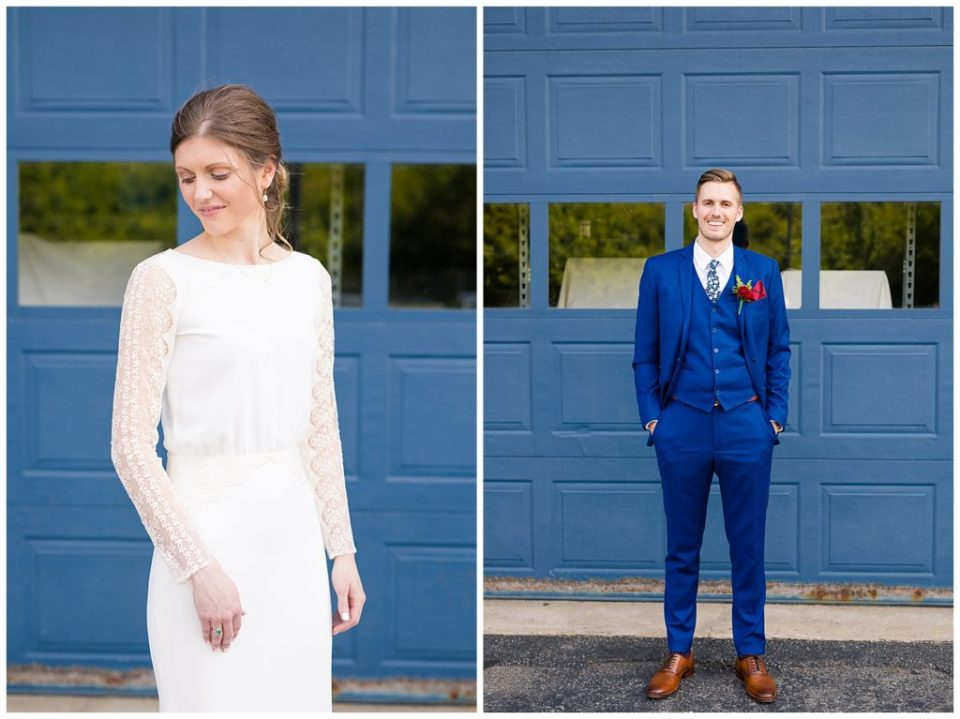 A photograph of a bride standing alone quietly in her beautiful dress, and a view of a groom standing in his tuxedo with a big smile on his wedding day at Dock 580 by Alayna Parker Photography  - Columbus OH wedding photographer
