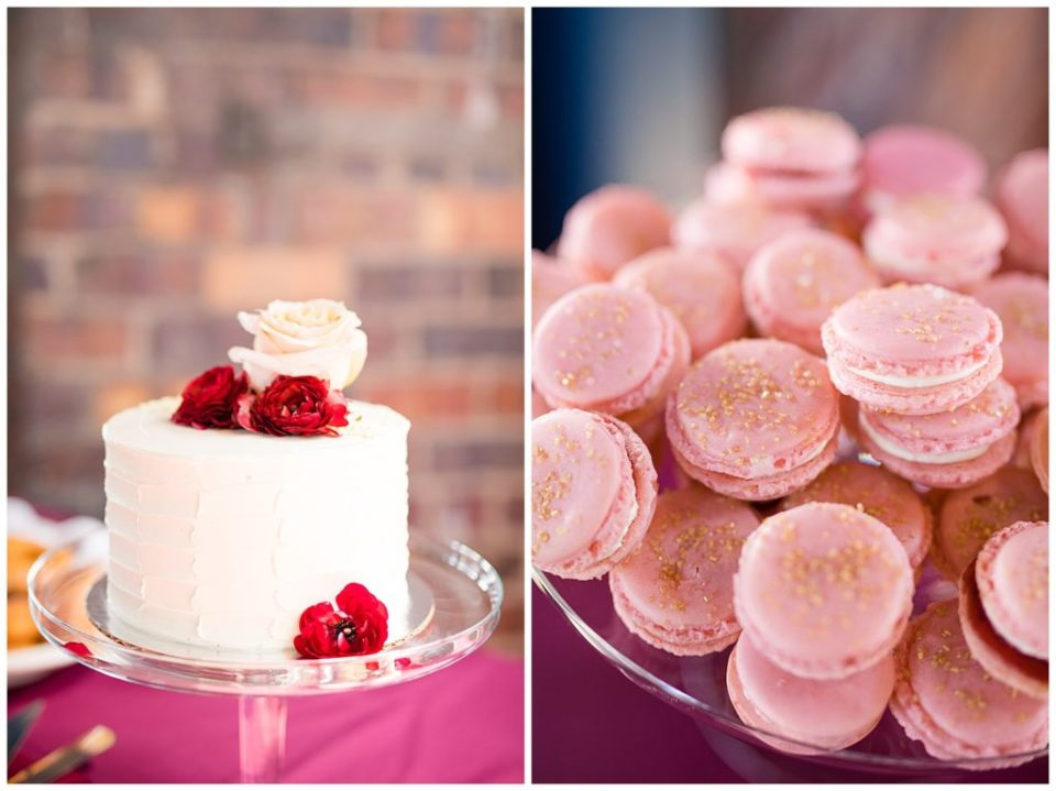 pink macaroons with gold sprinkled sugar on top