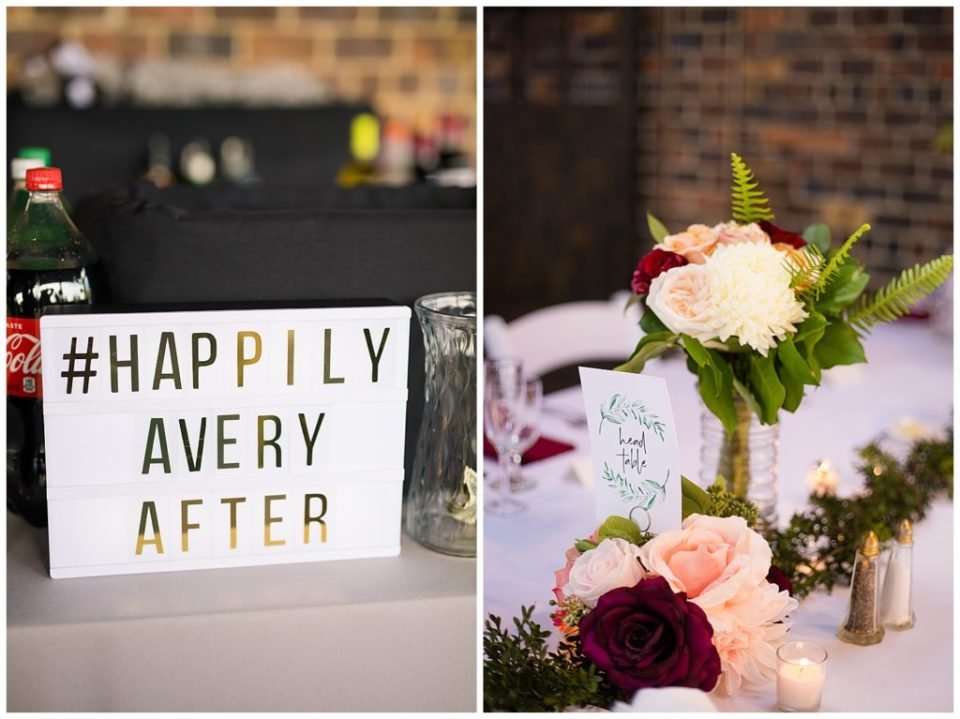 wedding hashtag sign that says happily avery after