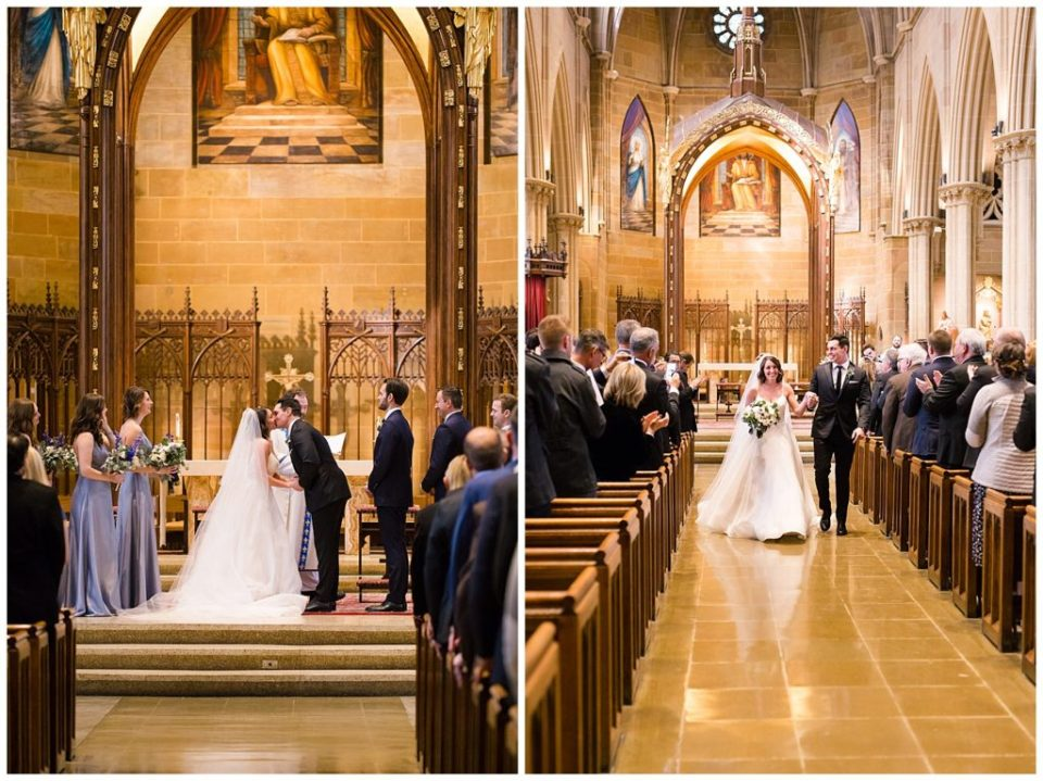 An image of the bride and groom in their first kiss as the wedding ceremony finishes in a church, and a view of them walking down the aisle during the processional at St Joseph's Cathedral by Alayna Parker  - Columbus Ohio wedding photos