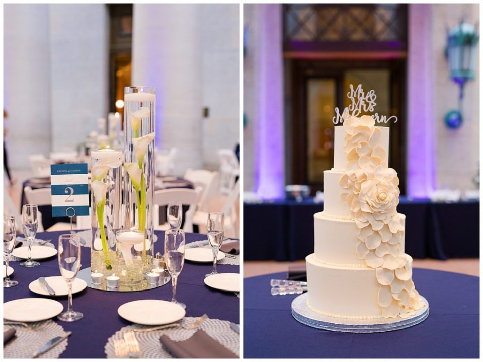 An image of a beautiful table setting and centerpiece, ready for guests at a wedding reception, and a view of a multi-layered wedding cake with topper at the reception at an Ohio Statehouse wedding by Alayna Parker Photography  - Columbus Ohio marriage photography