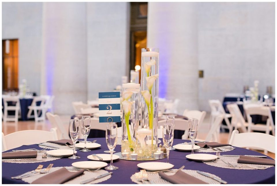 A photograph of tables decorated and ready for guests to arrive at a wedding reception at the Ohio Statehouse by Alayna Parker  - Columbus OH marriage photographer