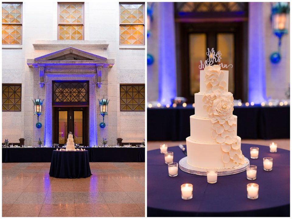 An image of a long-range view of the the head table and wedding cake set up for the wedding reception, and a closeup picture of the beautiful wedding cake surrounded by small candles at an Ohio Statehouse wedding by Alayna Parker Photography  - Columbus Ohio wedding pictures