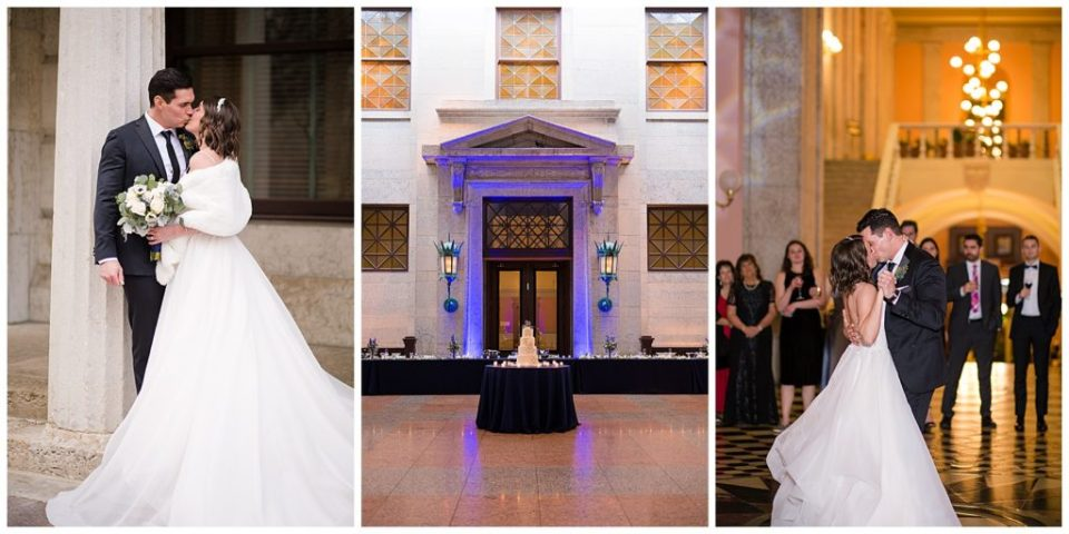 Collage of images from Andrew and Kate's traditional wedding at the Ohio Statehouse by Alayna Parker Photography