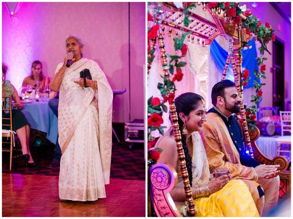 A picture of a Hindu grandmother giving a speech at a Hindu engagement reception, and a view of the engaged couple smiling as they watch proceedings at their reception at the Bertram Inn and Conference Center in Aurora by Alayna Parker  - Cleveland  engagement photographers