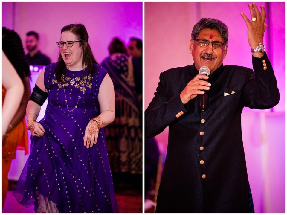 A picture of a guest dancing at a Hindu engagement party, and a view of the bride's father giving a speech after the ceremony at the Bertram Inn and Conference Center by Alayna Parker Photography  - Akron  engagement photographers
