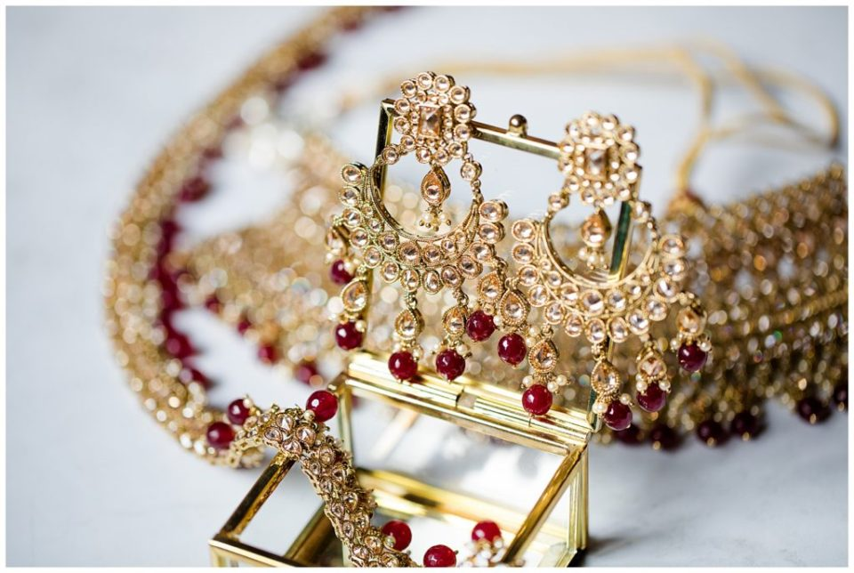 traditional gold and red indian bridal jewelry