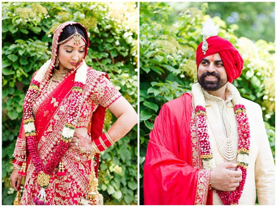 An image of an Indian bride in her colorful wedding sari, and a view of the groom in his elaborate wedding clothes in Chagrin Falls, Ohio by Alayna Parker  - Cleveland Ohio wedding photographer