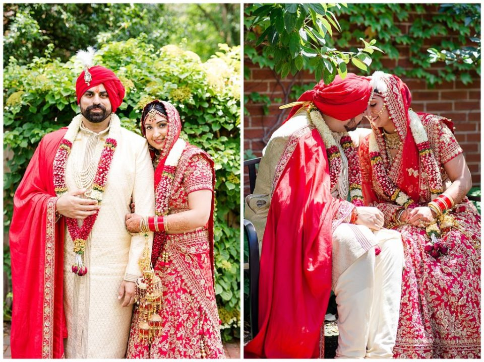 A photograph of an Indian bride and groom holding each other close after the wedding, and a view of them tenderly touching foreheads in Chagrin Falls, OH by Alayna Parker Photography  - Akron OH wedding photography