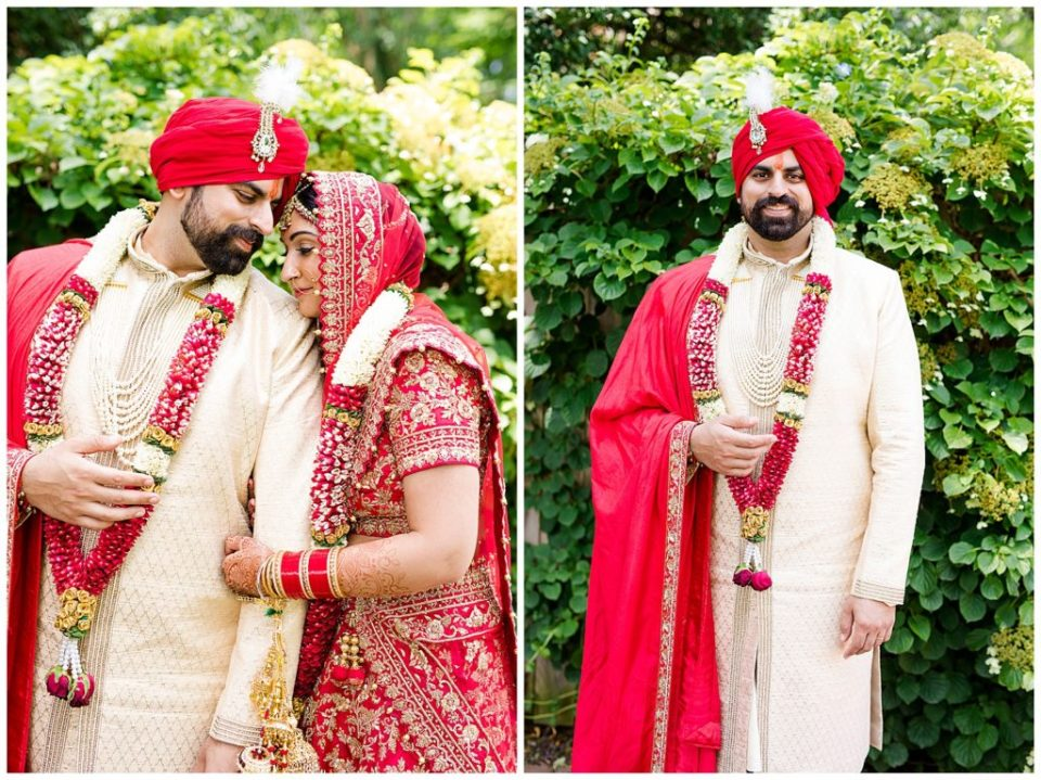 An image of an Indian bride and groom romantically holding each other close, and a view of the groom smiling in his handsome wedding clothes in Chagrin Falls, Ohio by Alayna Parker Photography  - Akron Ohio hindu marriage photographer