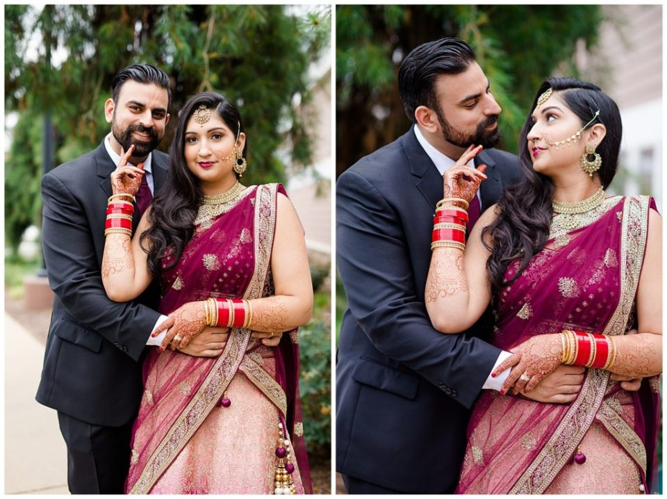 indian bride and groom smiling at camera at bertram inn