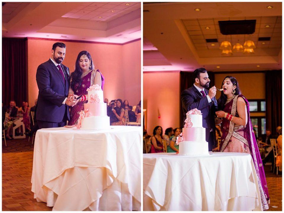 indian bride and groom cutting cake at bertram inn