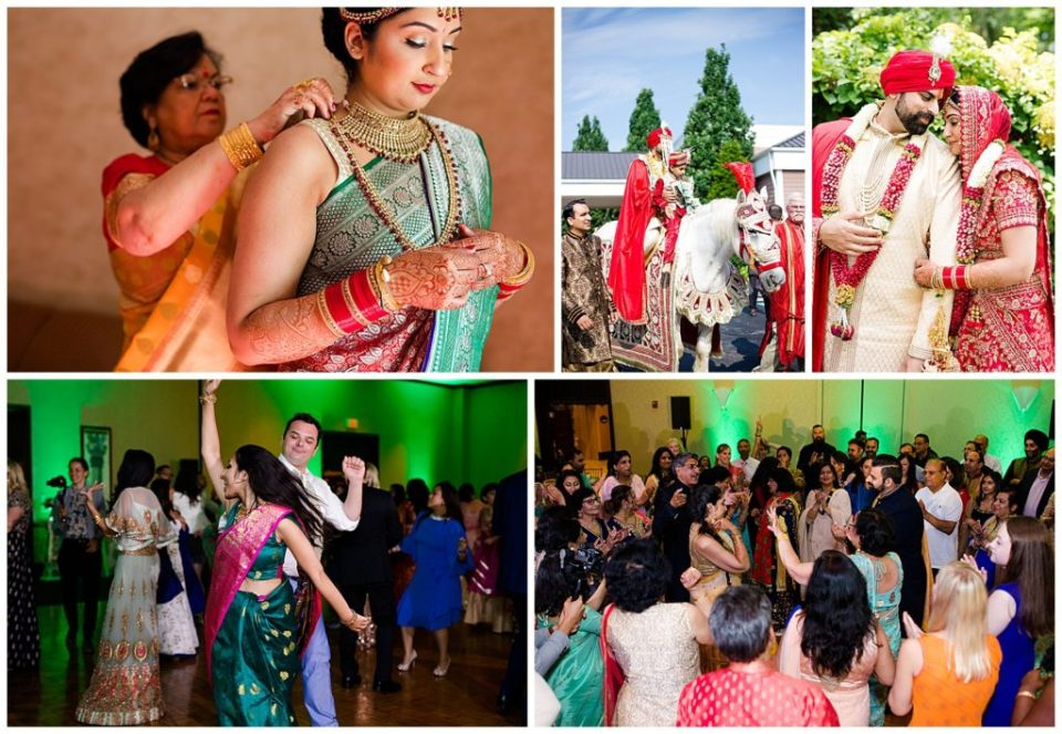 Collage of images from Robin & Priyanka's Indian Hindu wedding ceremony at the Bertram Inn in Aurora, north of Akron and south of Cleveland