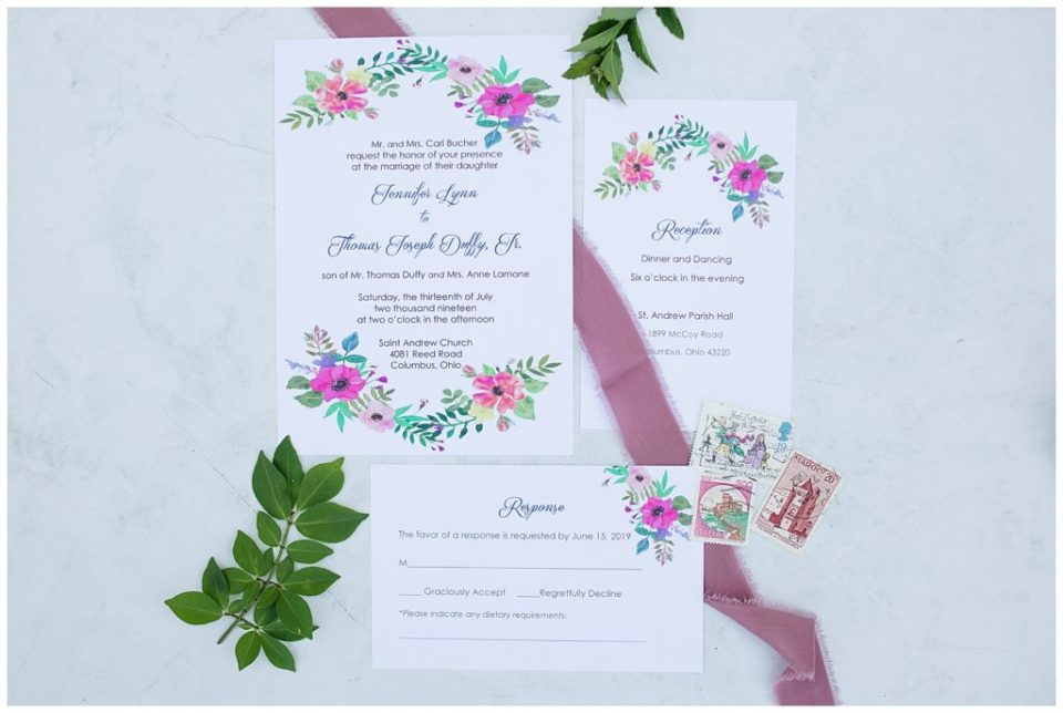 invitation set with colorful painted flowers