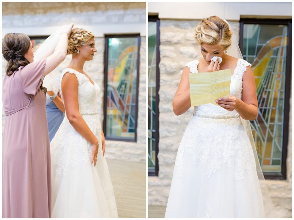 A picture of the maid of honor fixing the bride's hair just before the wedding, and a view of the bride crying as she reads a letter from the groom by Alayna Parker  - Columbus  wedding photographers