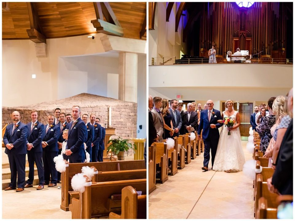 A picture of the groom and groomsmen waiting for the bride to arrive at the front of the church as the wedding starts, and a view of the bride and her father approaching down the aisle during the processional  by Alayna Parker  -   wedding photography in Columbus