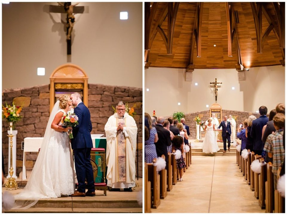 An image of the bride and groom kissing just as the wedding ceremony ends, and a long-range view of them holding hands and starting to walk down the aisle as a newly married couple at the St Andrew church in Columbus by Alayna Parker  - Columbus Ohio wedding photography