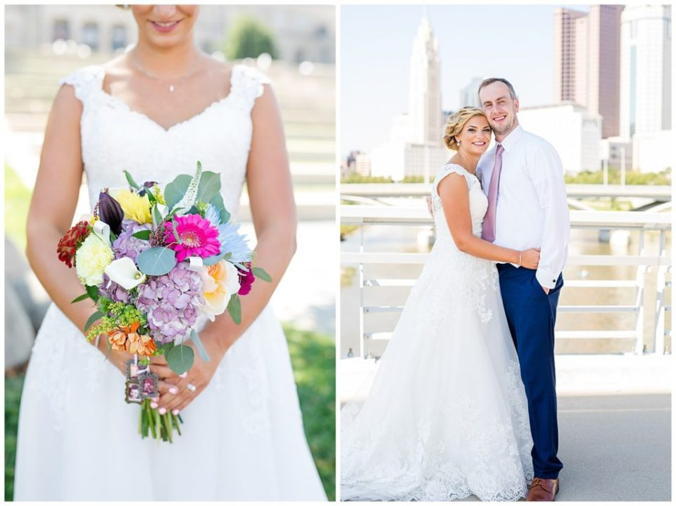 An image of a closeup view of the bride's colorful bouquet, and an image of the bride and groom smiling and holding each other close at COSI in Columbus by Alayna Parker Photography  -   wedding photography in Columbus