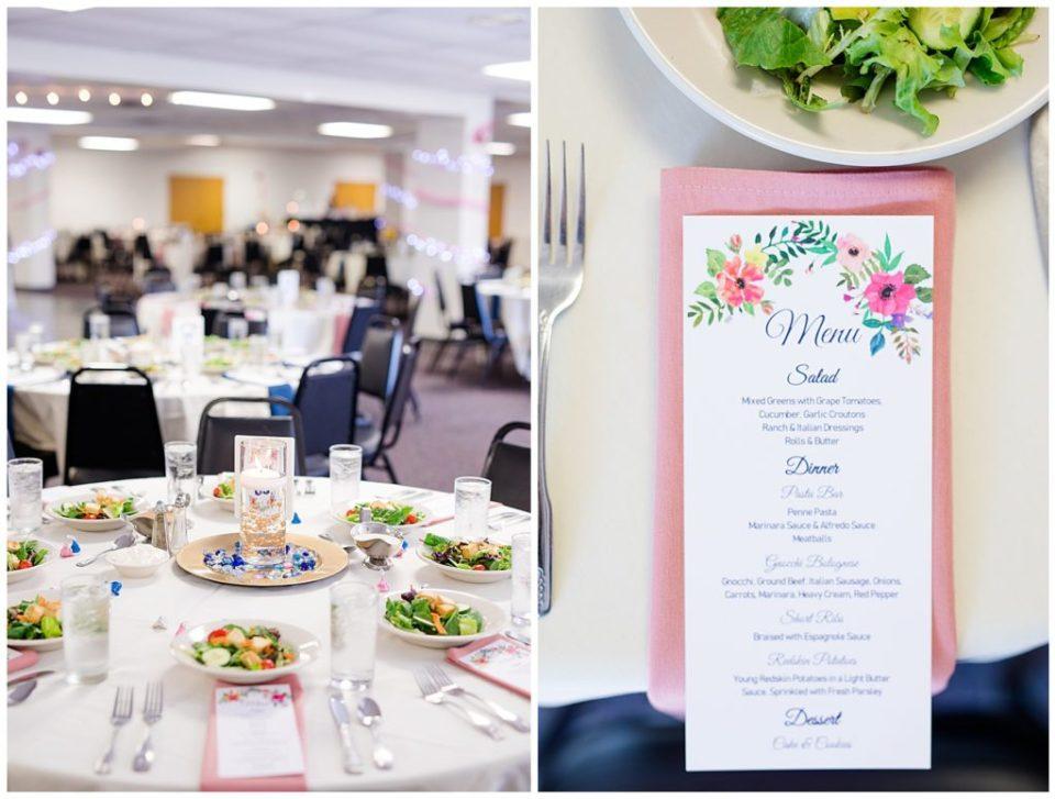 menu card at each table setting