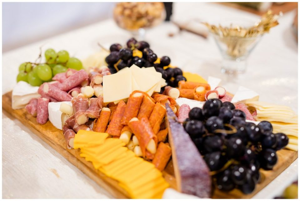 A picture of a delicious tray arranged with hors d'oeuvres at the wedding reception at the Cedar Grove Lodge venue in Hocking Hills, Ohio by Columbus  wedding photographer, Alayna Parker Photography