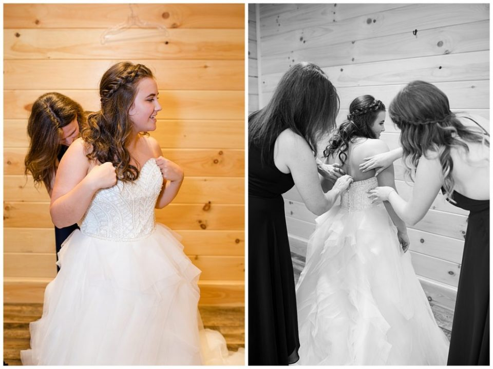 A photograph of the bride with her mother buttoning up her wedding dress, and another view of the bride being helped with her dress at the Cedar Grove Lodge wedding venue by Columbus OH wedding photographer, Alayna Parker Photography
