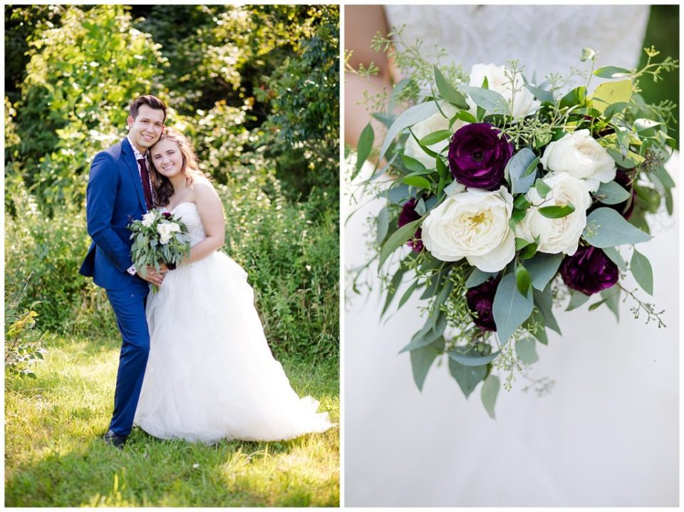 close up of bride holding unstructured bouquet of eucalyptus, white flowers, and dark purple flowers