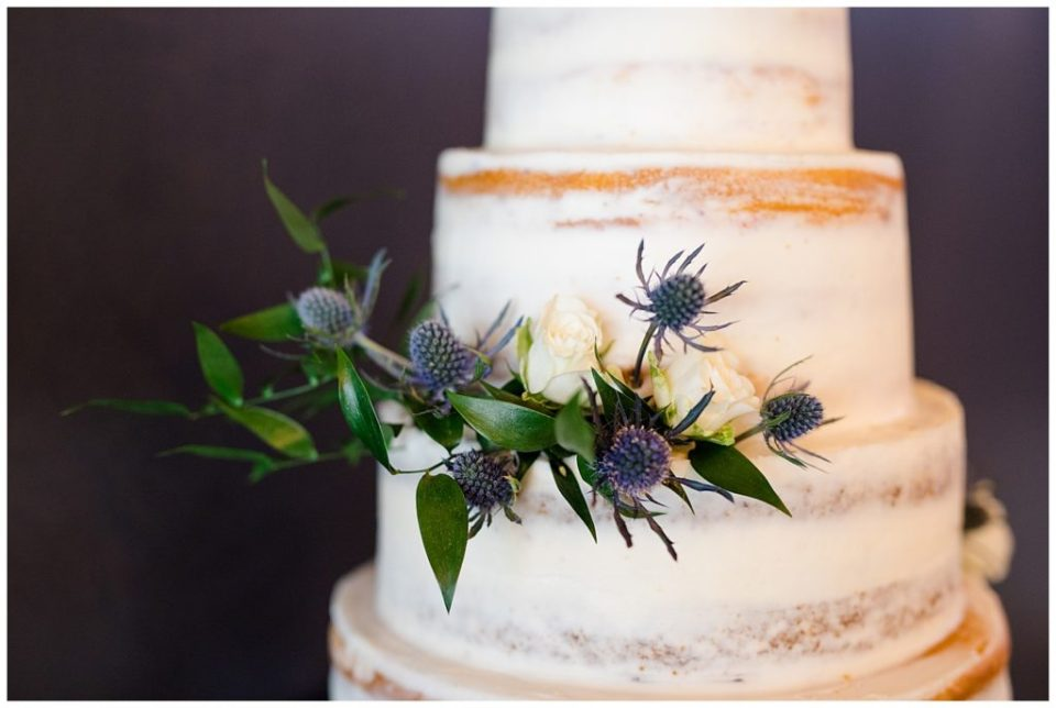 floral accents on naked cake at jorgensen farms oak grove