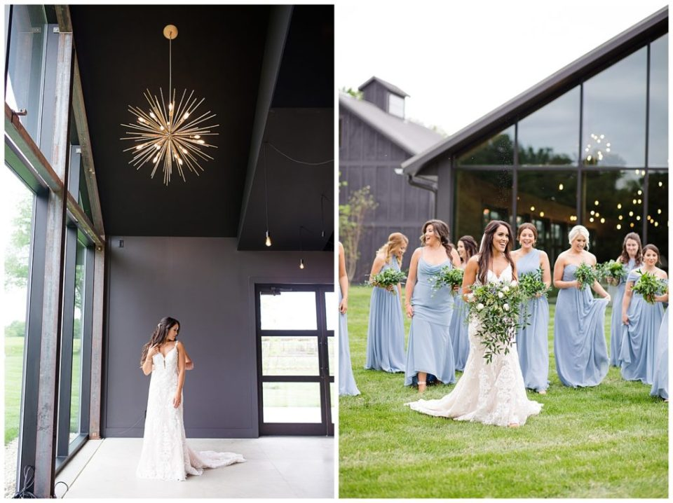 A picture of a bride standing in her beautiful wedding dress in the reception hall, and a view of the bride and bridesmaids smiling casually with their bouquets at the Oak Grove wedding venue by Columbus  wedding photographer, Alayna Parker Photography