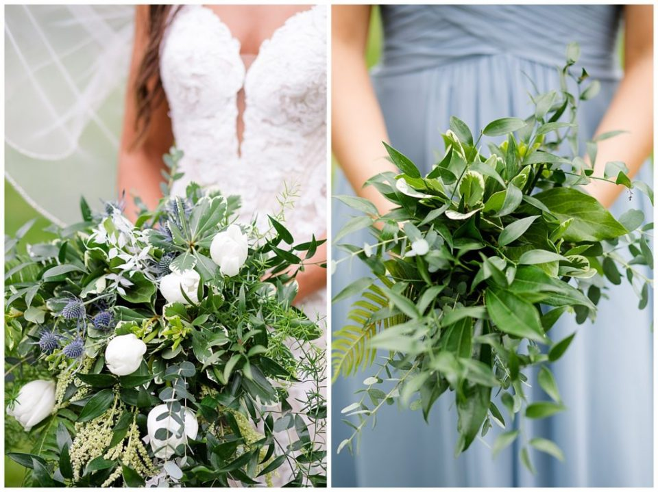 A picture of a closeup view of the bride's bouquet, and a closeup of the bridesmaid's bouquet at the Oak Grove venue in New Albany, Ohio by Columbus  wedding photographer, Alayna Parker Photography