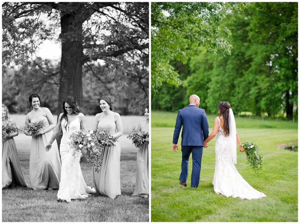 An image in black and white of the bride and her bridesmaids smiling together, and a view from behind of the bride and groom holding hands as they walk outdoors at the Oak Grove wedding venue by Columbus Ohio wedding photographer, Alayna Parker Photography