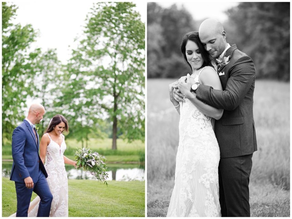 An image of the bride and groom smiling as they walk together outdoors, and a black and white view of the bride and groom romantically embracing at an Jorgensen farms Oak Grove wedding venue by Columbus Ohio wedding photographer, Alayna Parker Photography