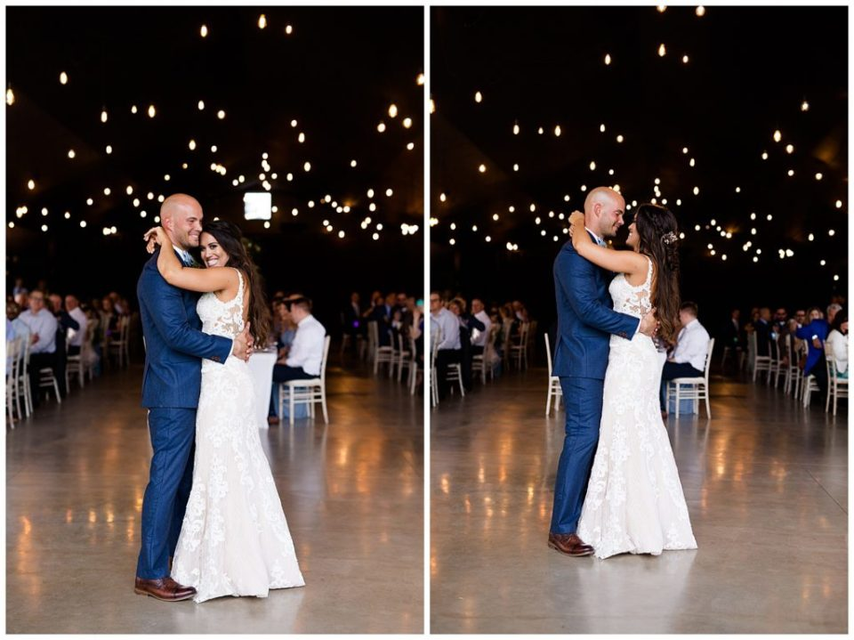 A picture of the bride and groom smiling and enjoying their first dance at the wedding reception, and another view of them gazing tenderly at each other while they dance at an Jorgensen farms Oak Grove wedding venue by Columbus  wedding photographer, Alayna Parker Photography