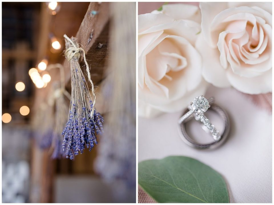 A photograph of a closeup of a spray of drying lavender hanging on a rafter in a farm setting for a couple's wedding, and a closeup off the wedding rings and roses at Jorgensen Farms wedding venue by Alayna Parker  - Columbus OH outdoor wedding photography